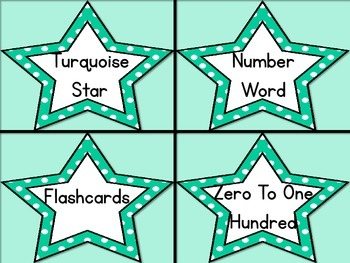 Turquoise Dot Star Number Word Flashcards Zero To One Hundred