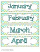 Turquoise Lime Chevron Calendar Numbers, Months and Days