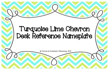 Turquoise Lime Chevron Desk Reference Nameplates