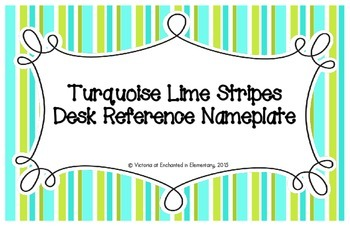 Turquoise Lime Stripes Desk Reference Nameplates