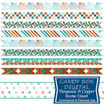 Turquoise N Copper Ribbon Border Clip Art - Commercial Use OK