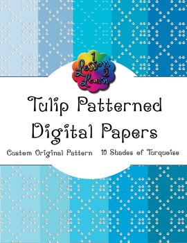 Turquoise Tulip Pattern Digital Paper