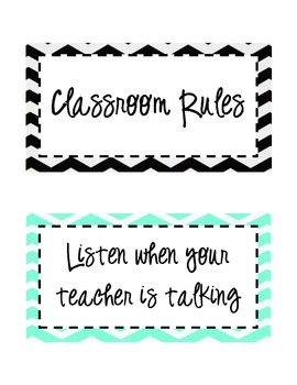 Turquoise and Black Chevron Rules {Editable}