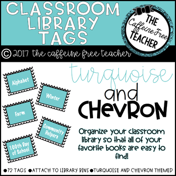 Turquoise and Chevron Classroom Library Organization Tags