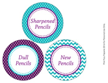 Turquoise and Purple Pencil Caddy Labels