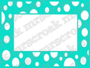 Labels: Turquoise & white polka dots, 10 per page