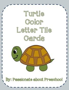 Turtle Color Letter Tiles Cards