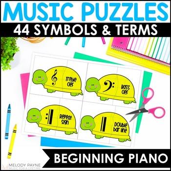 Turtle Music Puzzles: Music Symbol Puzzle Cards for Elemen