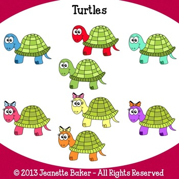 Turtles Clip Art by Jeanette Baker