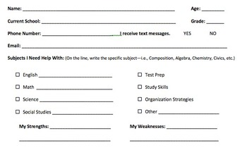 Tutoring Contract & Student Info