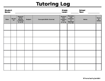 Tutoring Log {EDITABLE}
