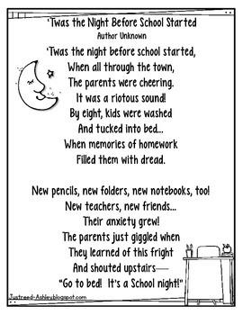 'Twas the Night Before School poem (FREEBIE)