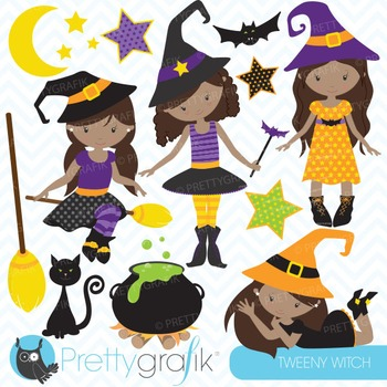 Tween witches clipart commercial use, vector graphics, dig