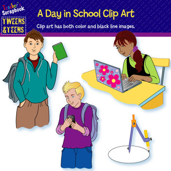 Tweens & Teens:  A Day in School Clip Art