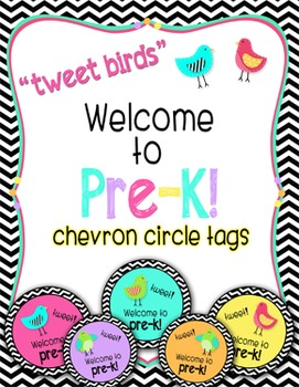 "Tweet Birds ""Welcome to pre-k!"" Chevron Tags"