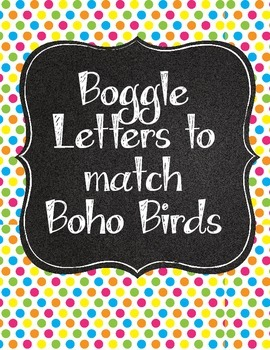 Tweet! Cute Boho Boggle Letters with Polka Dots and Chalkboard