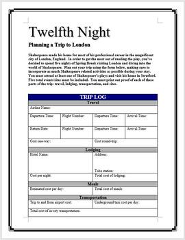 Twelfth Night - Planning a trip to London