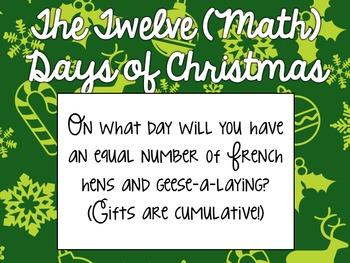 Twelve Math Days of Christmas - Holiday Problem-Solving