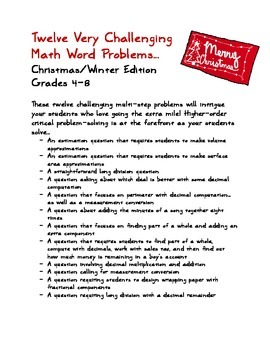 Twelve Very Challenging Math Word Problems for Grades 4-8