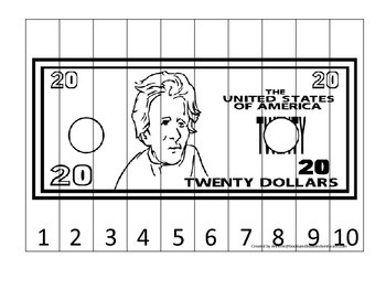 Twenty Dollar Bill 1-10 Number Sequence Puzzle. Financial