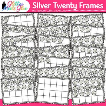 Silver Twenty Frames Clip Art {Teach Place Value, Number S