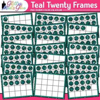 Teal Twenty Frames Clip Art {Teach Place Value, Number Sen