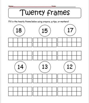 Twenty Frames Worksheet