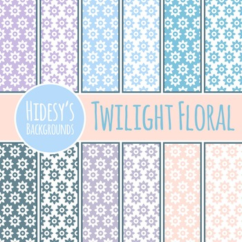 Twilight Floral Backgrounds / Digital Papers / Patterns Cl