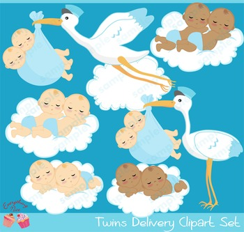 Twin Baby Boys Stork Delivery Babies African - american Ba