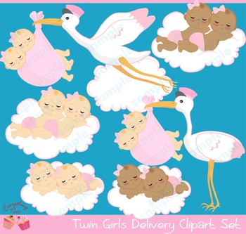 Twin Baby Girls Stork Delivery Babies African - american B