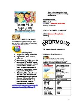 2.1.1 Twin Club Reading Street 2nd Grade Newsletter Unit 1 Week 1