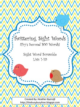 Twittering Scramble Sight Words {Fry's 2nd 100 words}