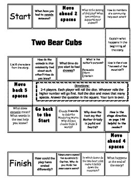 """""""Two Bear Cubs"""" Comprehension Game Board- Journeys story 3"""