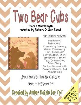 Two Bear Cubs Supplemental Activities 3rd Grade Journeys U