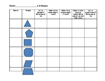Two-D Shape Graphic Organizer