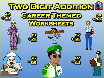 Two Digit Addition Worksheets - Career Themed (Vertical)