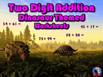 Two Digit Addition - Dinosaur Themed Worksheets - Horizontal