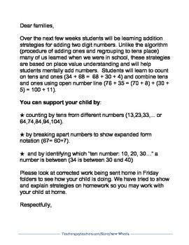 Two-Digit Addition Parent Letter in English and Spanish