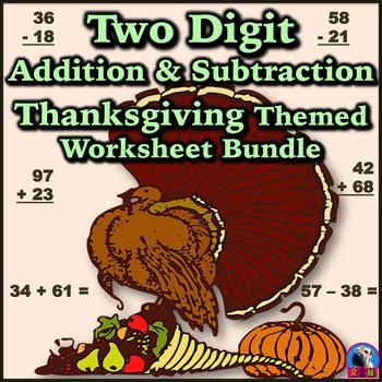 Two Digit Addition & Subtraction Worksheet Bundle - Thanks