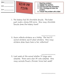 Two Digit Addition Word Problems