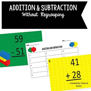 LEGO Addition and Subtraction Without Regrouping
