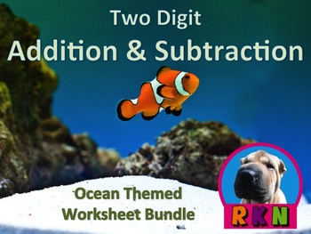 Two Digit Addition and Subtraction Ocean Themed Worksheet