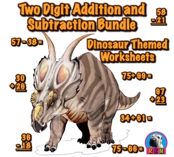 Two Digit Addition and Subtraction Worksheet Bundle - Dino