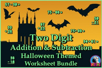 Two Digit Addition and Subtraction Worksheet Bundle - Hall