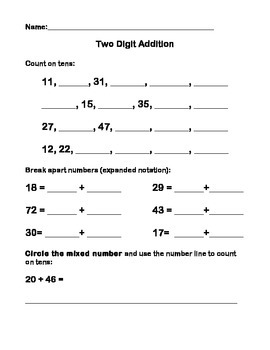 Two-Digit Addition Assessment on Open Number Line!