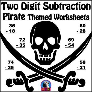 Two Digit Subtraction - Pirate Themed Worksheets - Vertical