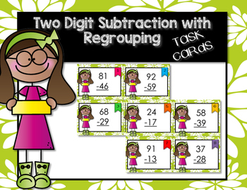 Two Digit Subtraction WITH Regrouping Task Cards