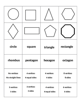 Two Dimensional Shapes Matching Activity