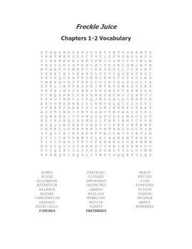 Two Freckle Juice Vocabulary Word Searches