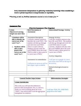 Two - Grammar Lesson Plan - Homophones